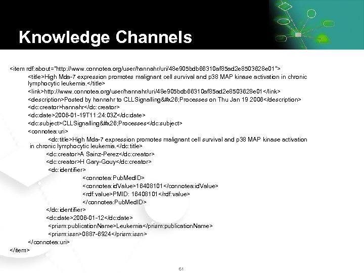 Knowledge Channels <item rdf: about=