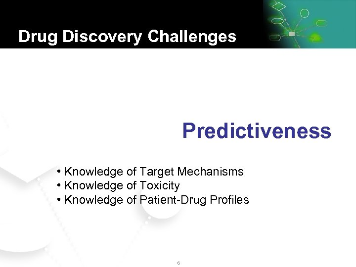 Drug Discovery Challenges Knowledge Predictiveness • Knowledge of Target Mechanisms • Knowledge of Toxicity
