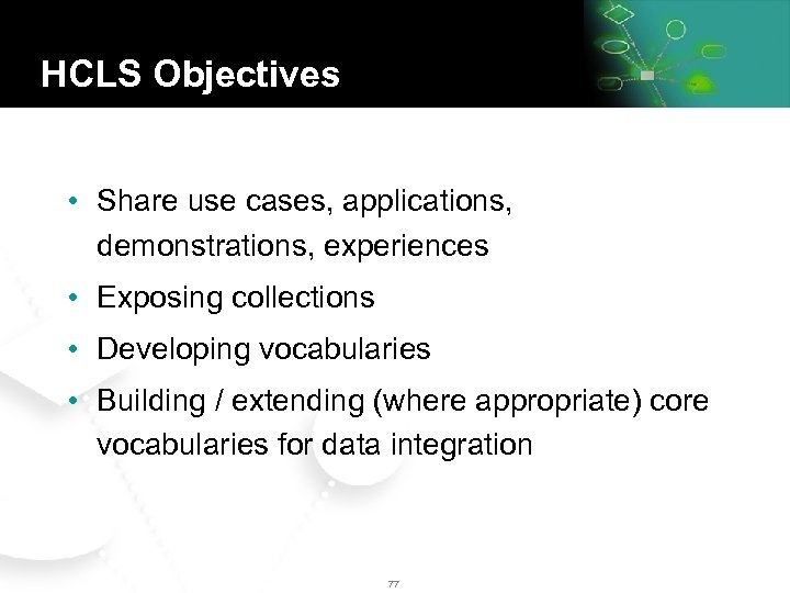 HCLS Objectives • Share use cases, applications, demonstrations, experiences • Exposing collections • Developing