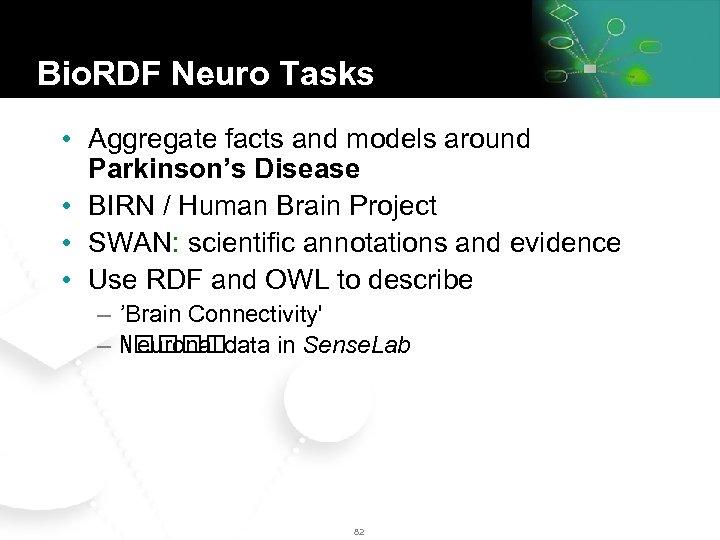 Bio. RDF Neuro Tasks • Aggregate facts and models around Parkinson's Disease • BIRN