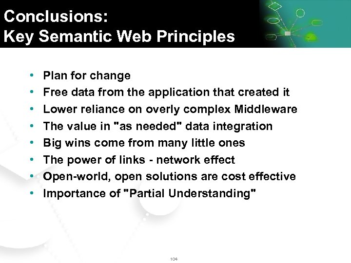 Conclusions: Key Semantic Web Principles • • Plan for change Free data from the