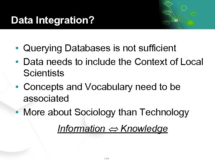 Data Integration? • Querying Databases is not sufficient • Data needs to include the