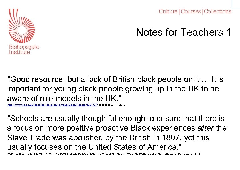 Notes for Teachers 1