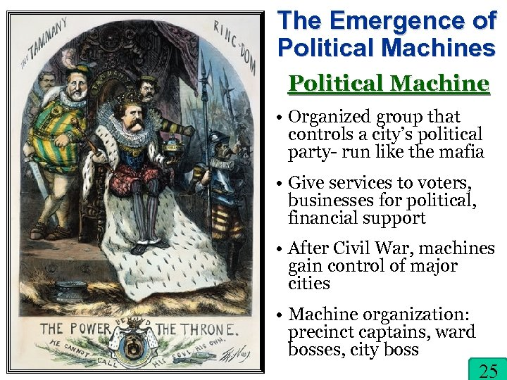 The Emergence of Political Machines Political Machine • Organized group that controls a city's