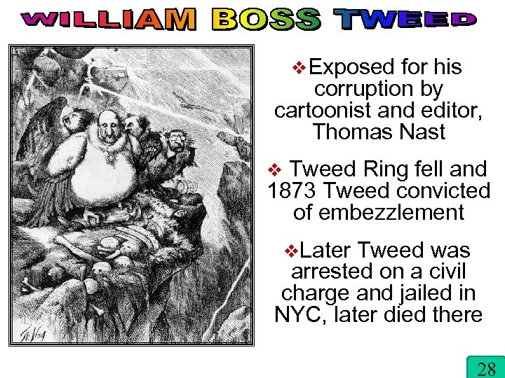 v. Exposed for his corruption by cartoonist and editor, Thomas Nast v Tweed Ring