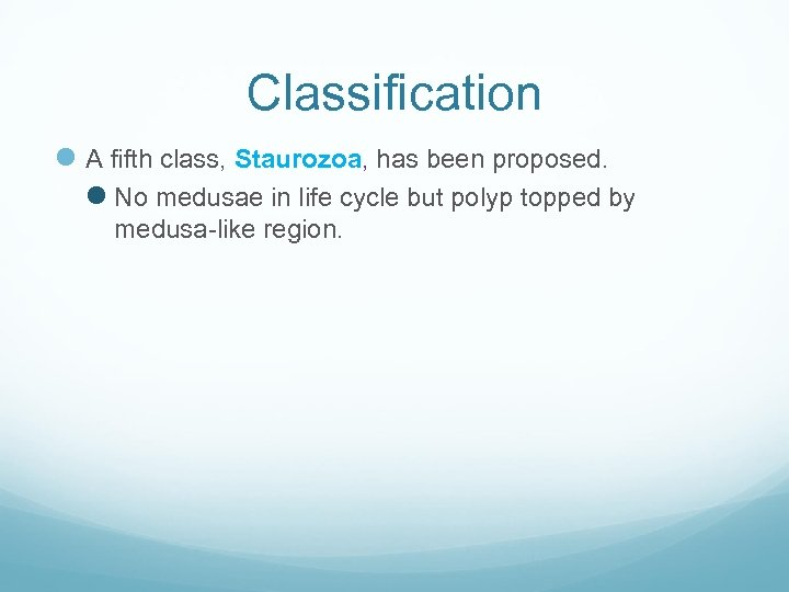 Classification l A fifth class, Staurozoa, has been proposed. l No medusae in life