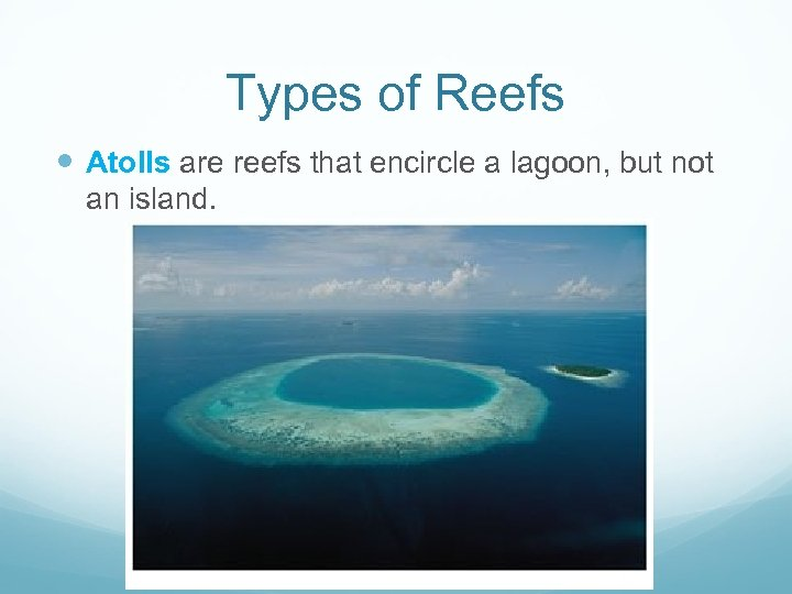 Types of Reefs Atolls are reefs that encircle a lagoon, but not an island.