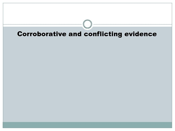Corroborative and conflicting evidence