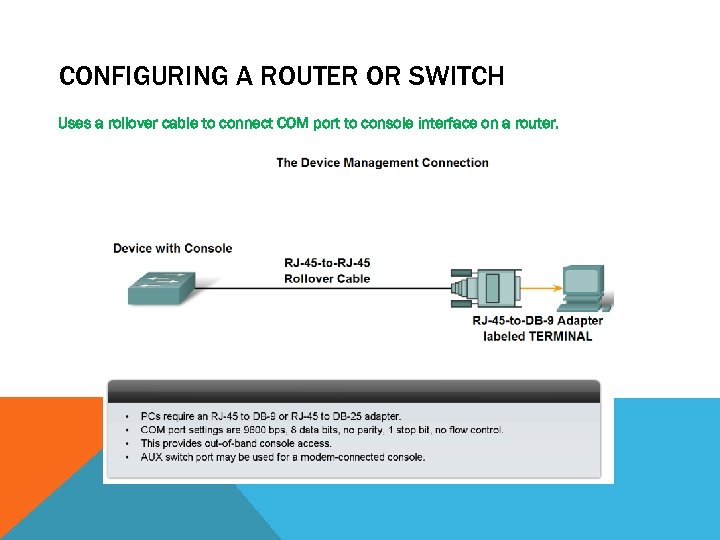 CONFIGURING A ROUTER OR SWITCH Uses a rollover cable to connect COM port to