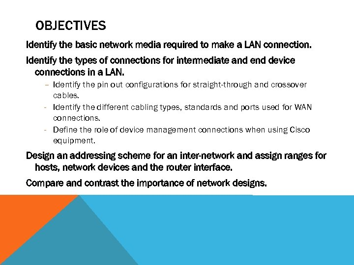 OBJECTIVES Identify the basic network media required to make a LAN connection. Identify the