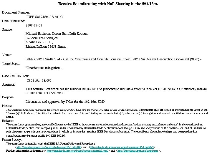 Receive Beamforming with Null Steering in the 802. 16 m. Document Number: IEEE S