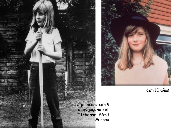 Con 10 años La princesa con 9 años jugando en Itchenor, West Sussex.