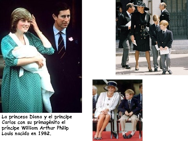 La princesa Diana y el principe Carlos con su primogénito el príncipe William Arthur