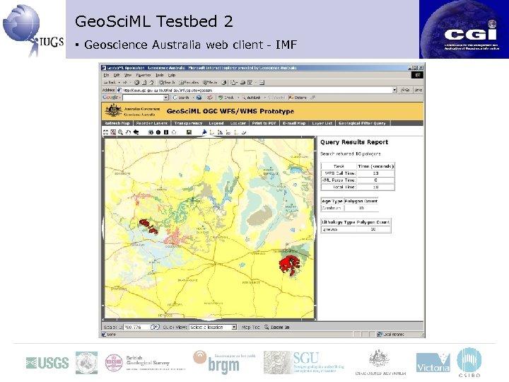 Geo. Sci. ML Testbed 2 ▪ Geoscience Australia web client - IMF
