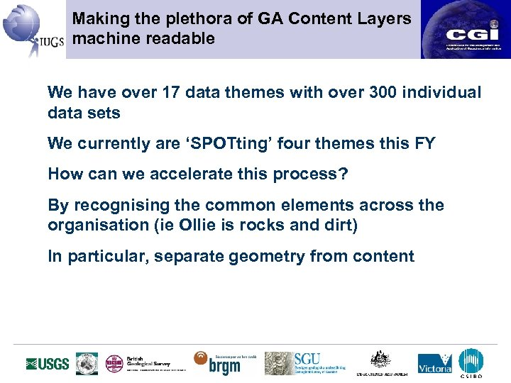 Making the plethora of GA Content Layers machine readable We have over 17 data
