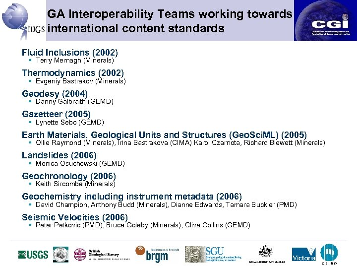 GA Interoperability Teams working towards international content standards Fluid Inclusions (2002) § Terry Mernagh