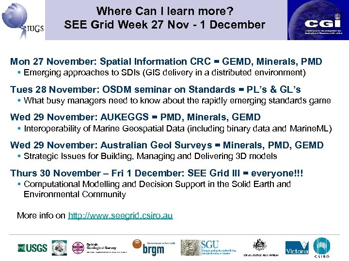 Where Can I learn more? SEE Grid Week 27 Nov - 1 December Mon