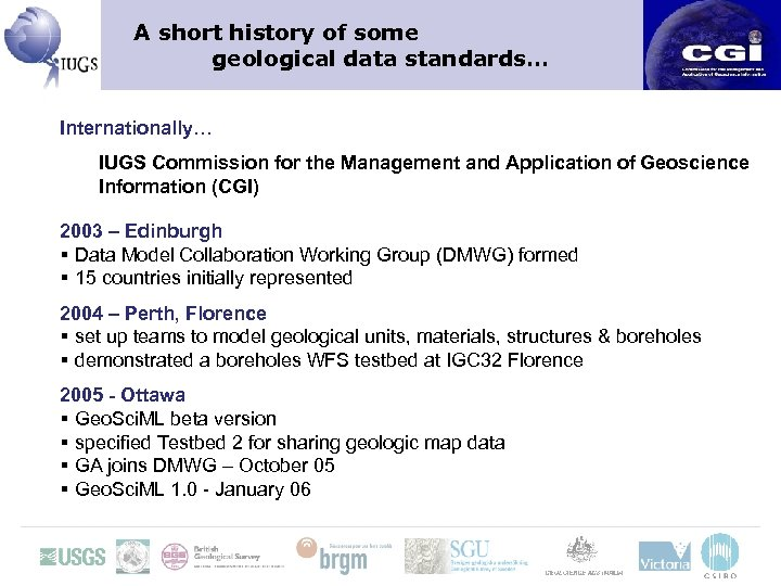A short history of some geological data standards… Internationally… IUGS Commission for the Management