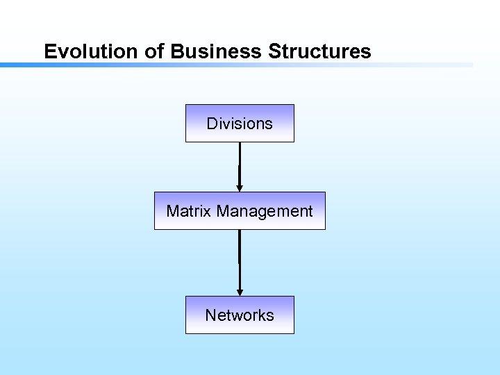 Evolution of Business Structures Divisions Matrix Management Networks