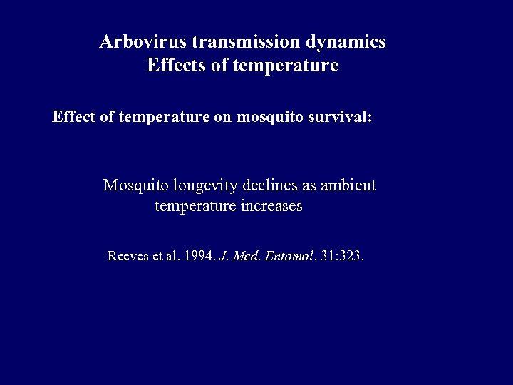 Arbovirus transmission dynamics Effects of temperature Effect of temperature on mosquito survival: Mosquito longevity