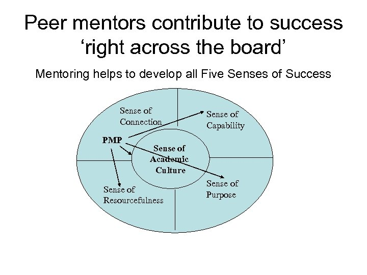 Peer mentors contribute to success 'right across the board' Mentoring helps to develop all