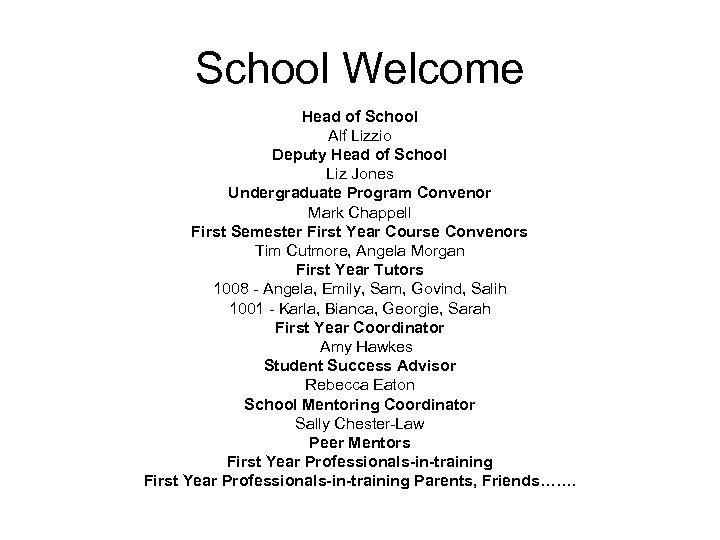 School Welcome Head of School Alf Lizzio Deputy Head of School Liz Jones Undergraduate