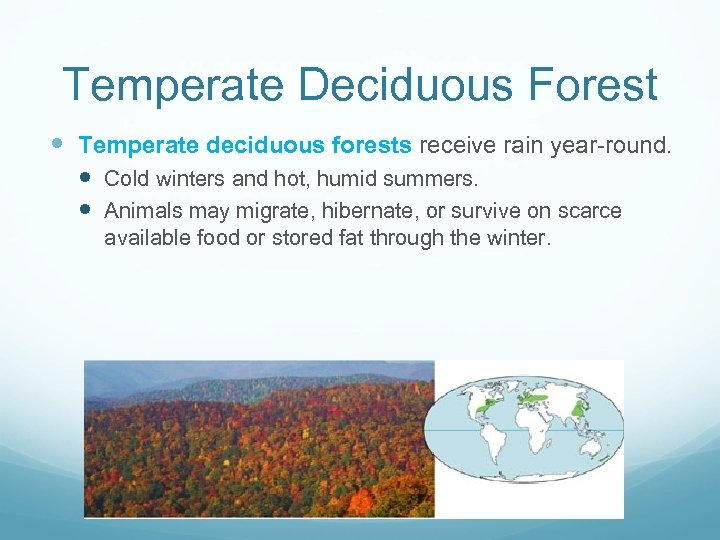 Temperate Deciduous Forest Temperate deciduous forests receive rain year-round. Cold winters and hot, humid