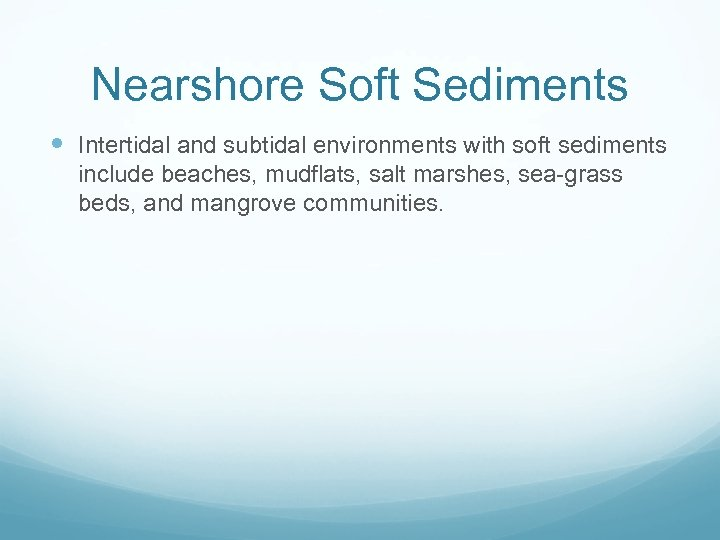 Nearshore Soft Sediments Intertidal and subtidal environments with soft sediments include beaches, mudflats, salt