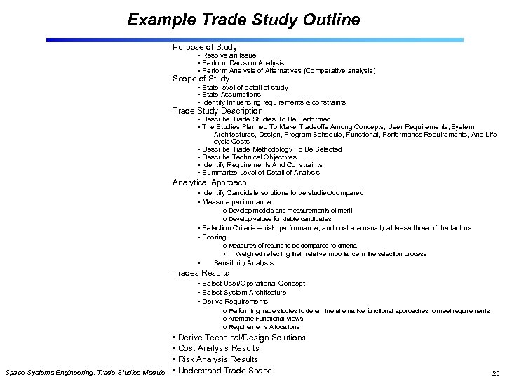 Example Trade Study Outline Purpose of Study • Resolve an Issue • Perform Decision