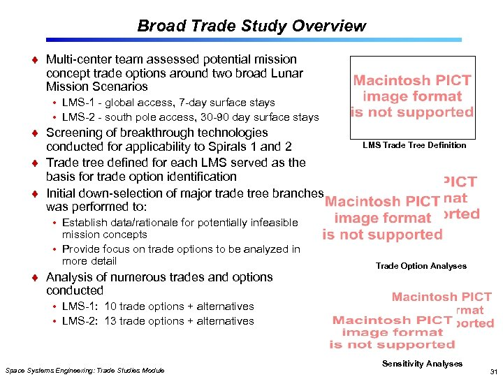 Broad Trade Study Overview Multi-center team assessed potential mission concept trade options around two