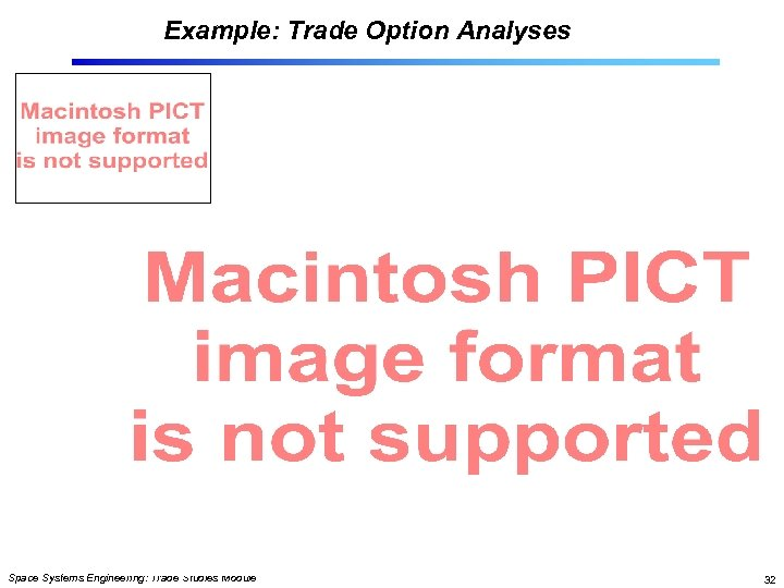 Example: Trade Option Analyses Space Systems Engineering: Trade Studies Module 32