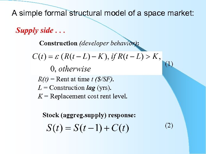 A simple formal structural model of a space market: Supply side. . . Construction