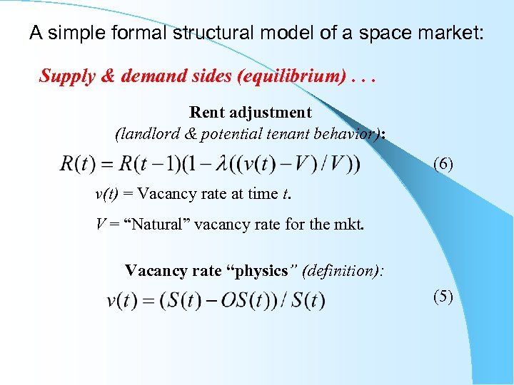 A simple formal structural model of a space market: Supply & demand sides (equilibrium).