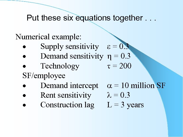Put these six equations together. . . Numerical example: · Supply sensitivity · Demand