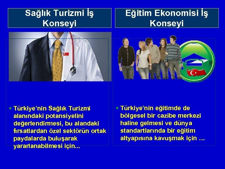 Sektörel İş Konseylerimiz Sağlık Turizmi İş Konseyi § Türkiye'nin Sağlık Turizmi alanındaki potansiyelini değerlendirmesi,