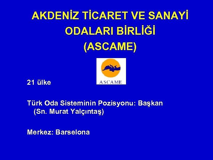 AKDENİZ TİCARET VE SANAYİ ODALARI BİRLİĞİ (ASCAME) 21 ülke Türk Oda Sisteminin Pozisyonu: Başkan