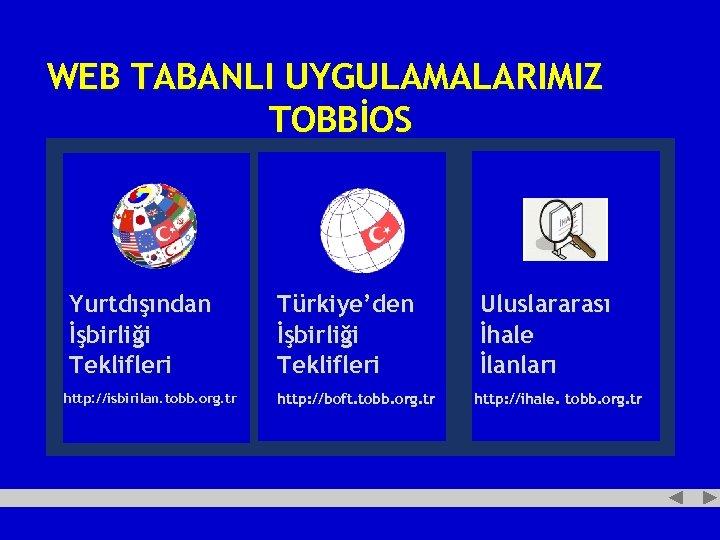 WEB TABANLI UYGULAMALARIMIZ TOBBİOS Yurtdışından İşbirliği Teklifleri http: //isbirilan. tobb. org. tr Türkiye'den İşbirliği