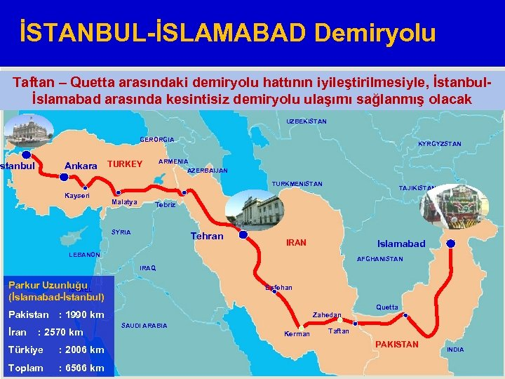 İSTANBUL-İSLAMABAD Demiryolu Taftan – Quetta arasındaki demiryolu hattının iyileştirilmesiyle, İstanbul. RUSSIA KAZAKHSTAN İslamabad arasında