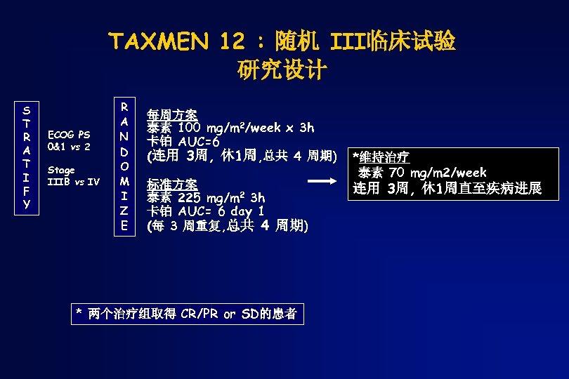 TAXMEN 12 : 随机 III临床试验 研究设计 S T R A T I F Y