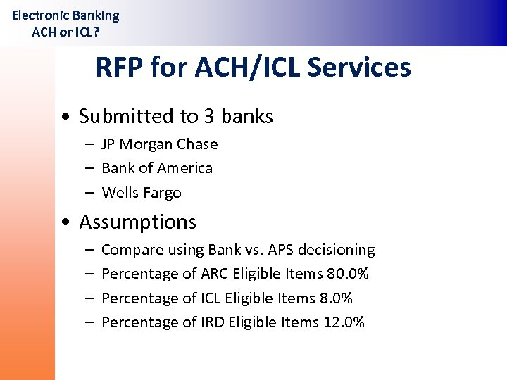 Electronic Banking ACH or ICL In-House vs Out-Source