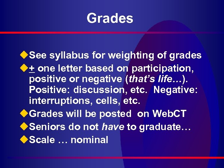 Grades u. See syllabus for weighting of grades u+ one letter based on participation,