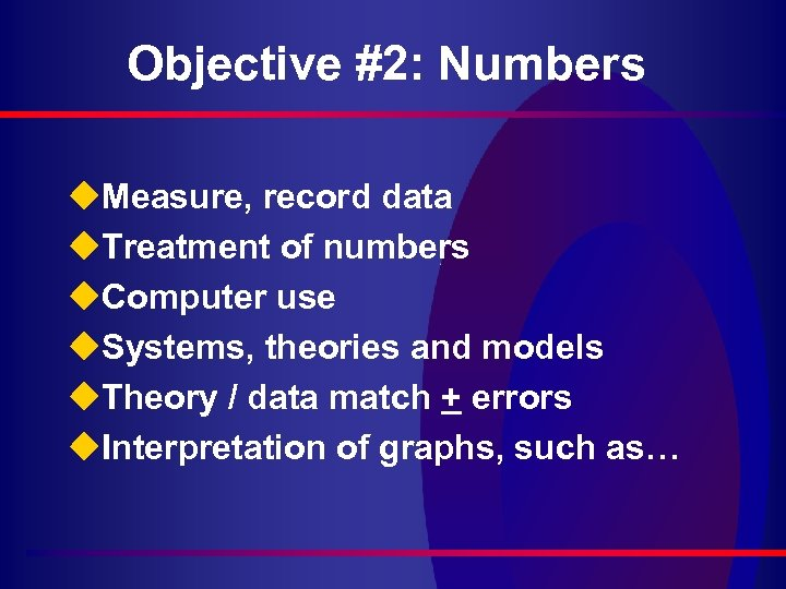 Objective #2: Numbers u. Measure, record data u. Treatment of numbers u. Computer use