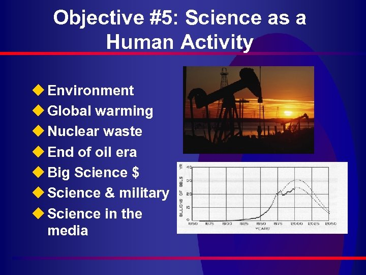 Objective #5: Science as a Human Activity u Environment u Global warming u Nuclear