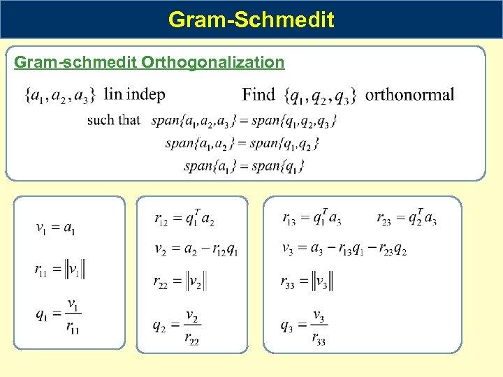 Gram-Schmedit Gram-schmedit Orthogonalization