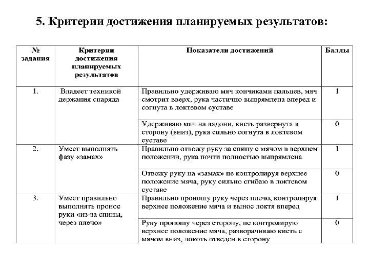 5. Критерии достижения планируемых результатов: