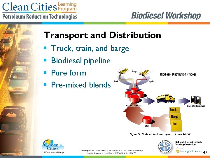 Transport and Distribution § § Truck, train, and barge Biodiesel pipeline Pure form Pre-mixed