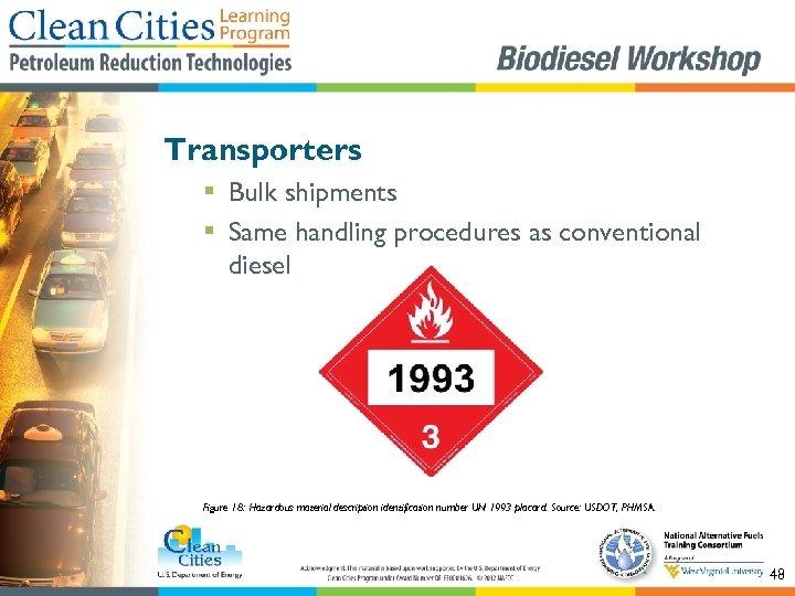 Transporters § Bulk shipments § Same handling procedures as conventional diesel Figure 18: Hazardous
