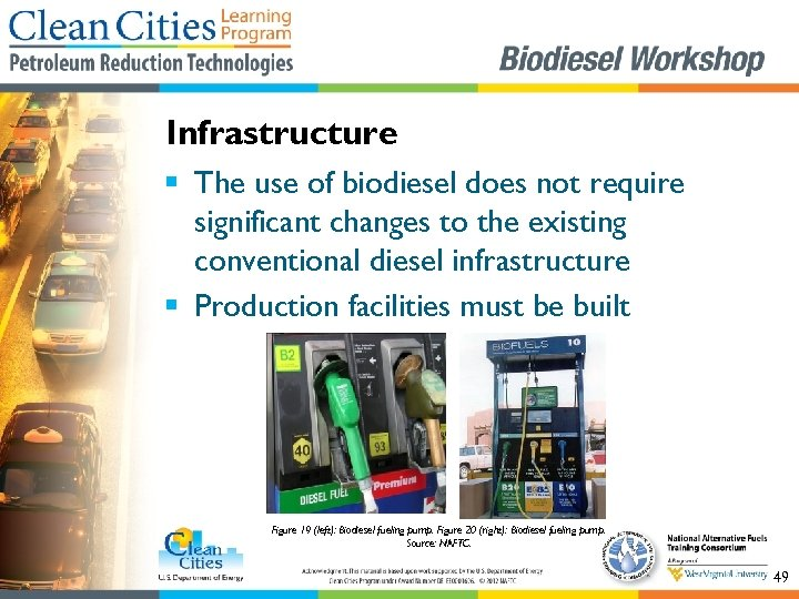 Infrastructure § The use of biodiesel does not require significant changes to the existing