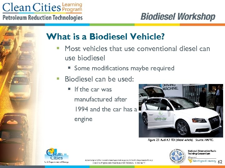 What is a Biodiesel Vehicle? § Most vehicles that use conventional diesel can use