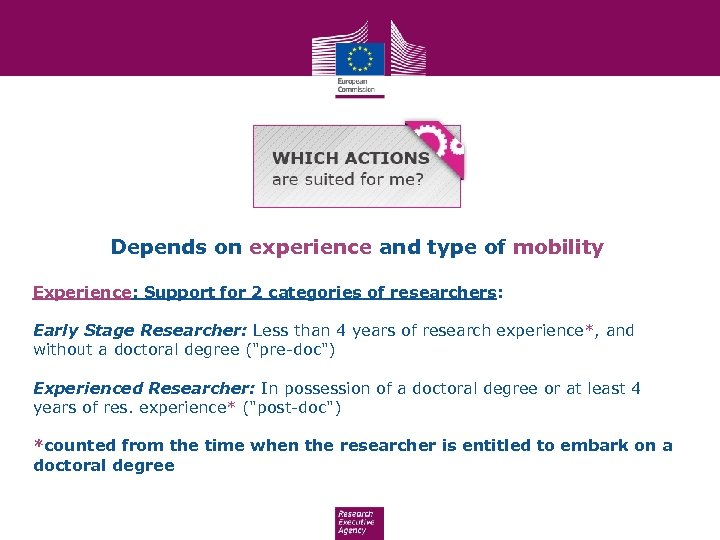 Depends on experience and type of mobility Experience: Support for 2 categories of researchers: